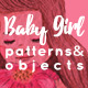 Baby Girl Elements And Patterns Set - GraphicRiver Item for Sale