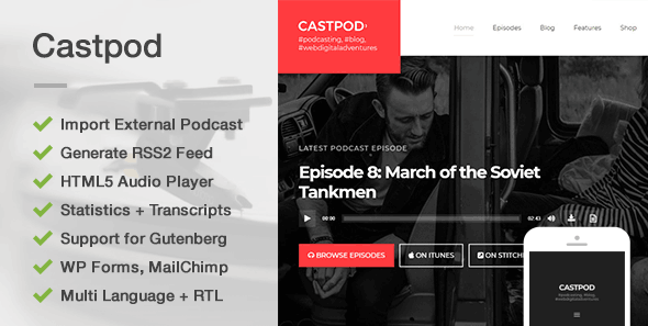 Castpod - A Professional WordPress Theme for Audio Podcasts - News / Editorial Blog / Magazine