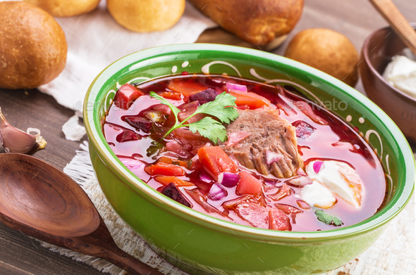 Borscht angled view - Stock Photo - Images