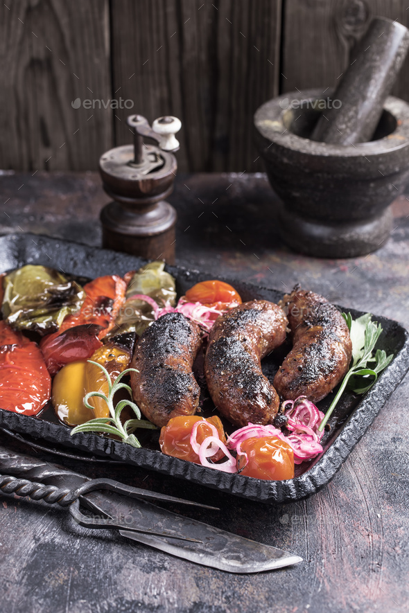 Homemade sausages with vegetables - Stock Photo - Images