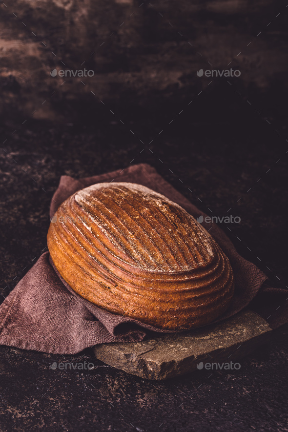 Rye bread on stone - Stock Photo - Images