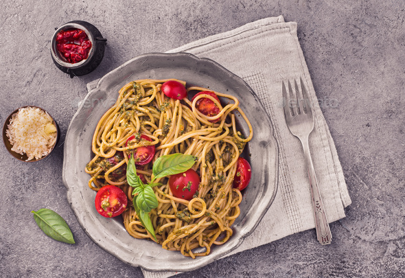Spaghetti pasta with pesto - Stock Photo - Images