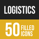 50 Logistics Filled Low Poly Icons