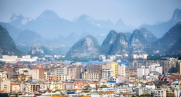 Guilin city aerial picture, Guangxi, China. - Stock Photo - Images