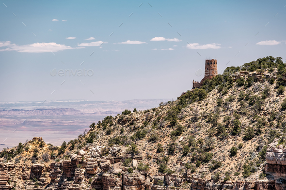 Watchtower Over the Grand Canyon - Stock Photo - Images