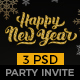 New Year - Party Invitation Email Template PSD