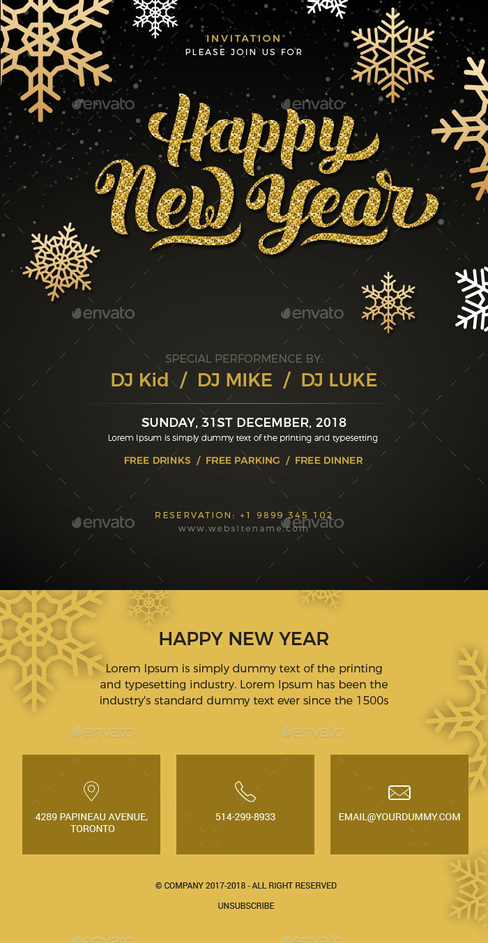 New Year - Party Invitation Email Template PSD by Imkktheme ...
