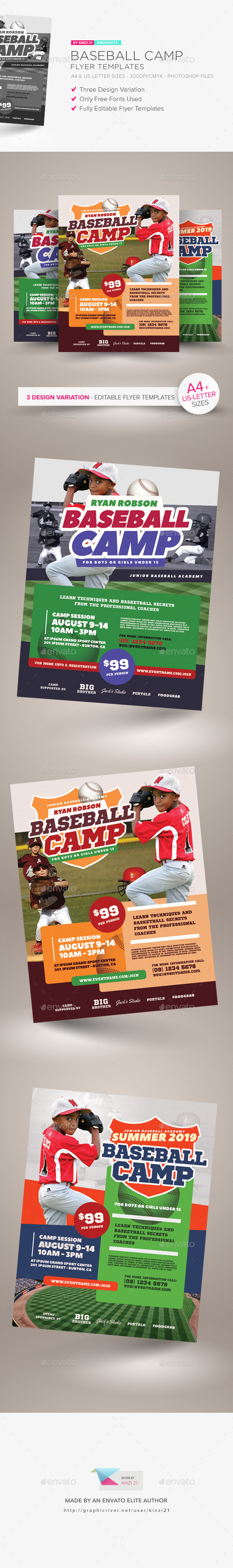 baseball camp flyer templates sports events