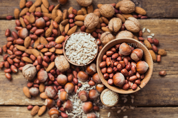 Mix of nuts Almonds, walnuts, peanuts, hazelnuts , sunflower seeds - Stock Photo - Images
