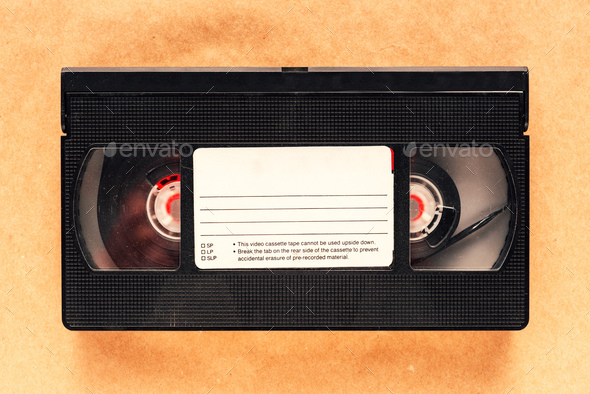 Used video casette tape, retro technology - Stock Photo - Images
