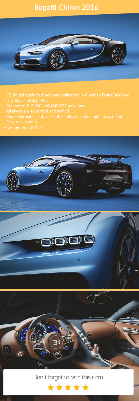 3DOcean Bugatti Chiron 2016 21150121
