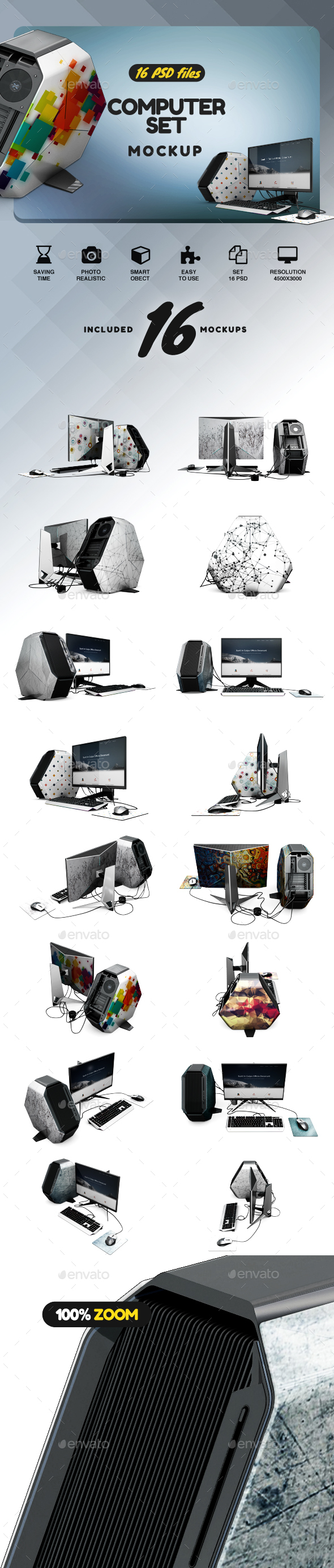 Computer Set App & Skin Mockup - Product Mock-Ups Graphics