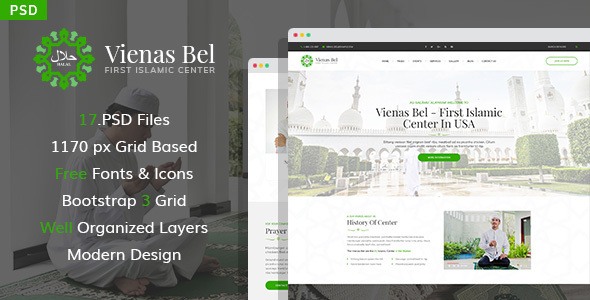 ThemeForest Vienas Bel Islamic Center PSD Template 21154312