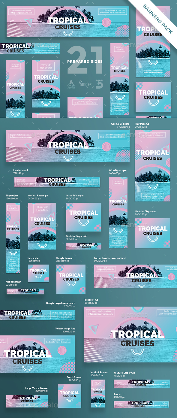 Tropical Cruises Banner Pack - Banners & Ads Web Elements