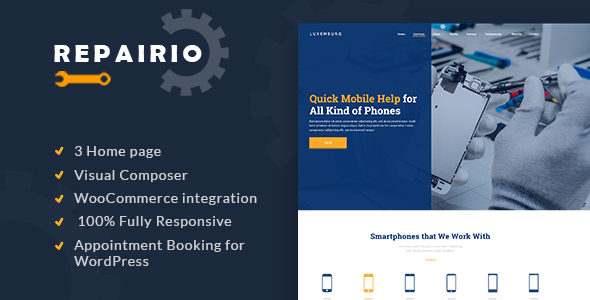 Repairio - Computer and Electronics Repair WordPress Theme - Business Corporate