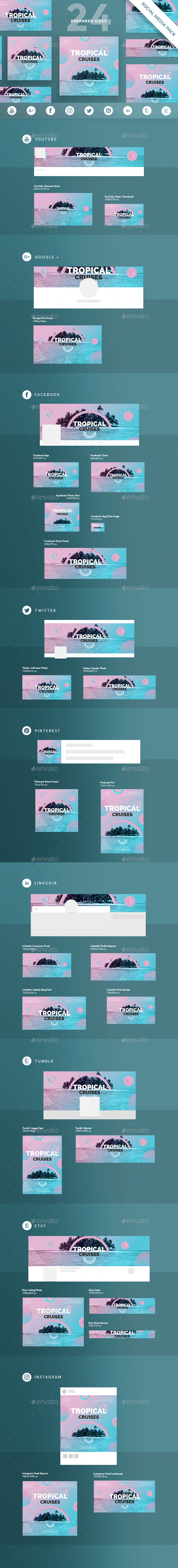 GraphicRiver Tropical Cruises Social Media Pack 21154451