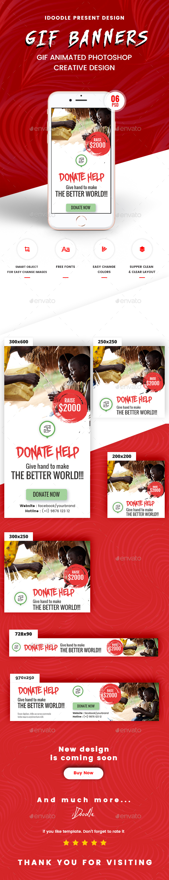 Animated GIF Nonprofit - NGO, Charity/Fundraising Banner Ads - Banners & Ads Web Elements