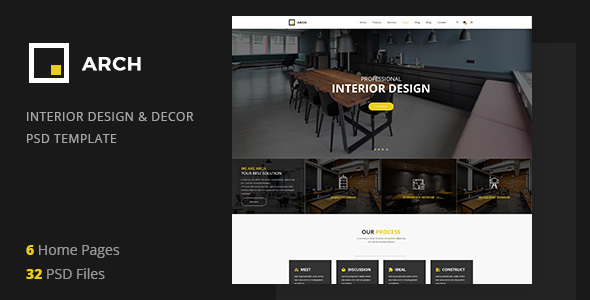 ThemeForest Arch Decor Interior Design Architecture and Building Business PSD Template 21154694
