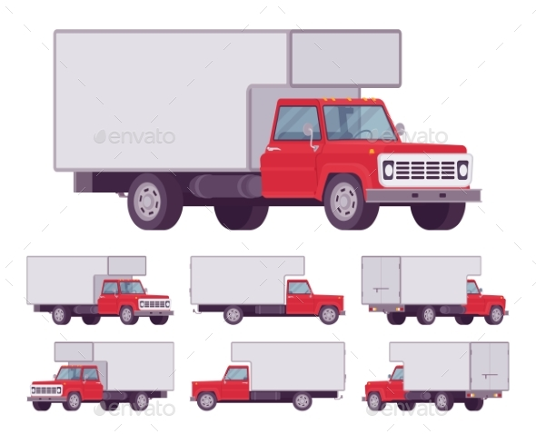 Red Truck Set - Man-made Objects Objects