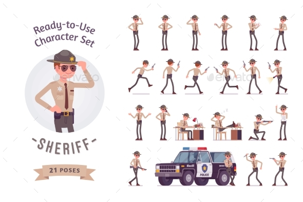 GraphicRiver Sheriff Ready-to-Use Character Set 21155055