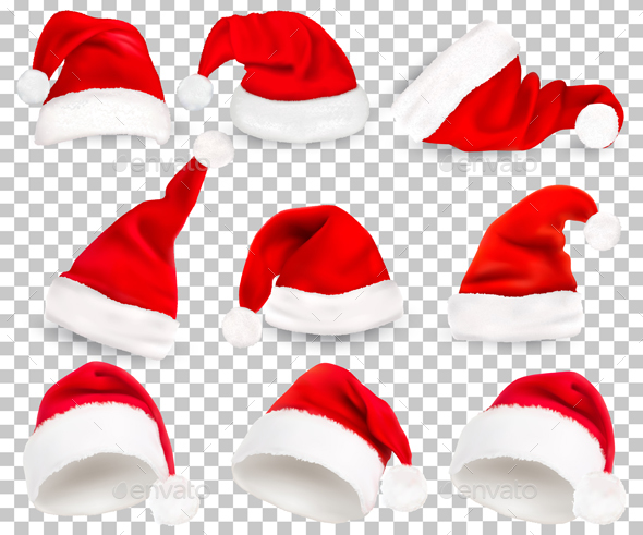 Collection of Red Santa Hats - Christmas Seasons/Holidays