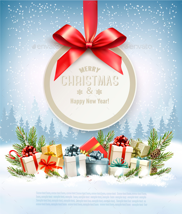 Merry Christmas Banners with Tree Branches and Gift Boxes - Christmas Seasons/Holidays