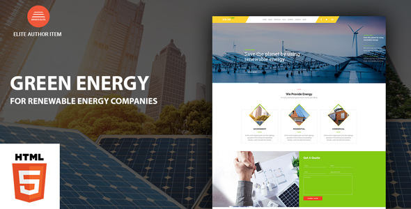 Image of Green Energy - For Renewable Energy Company HTML Template