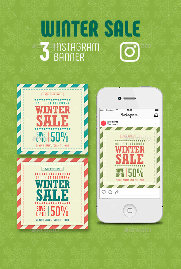 GraphicRiver Winter Sale Instagram Banner 21155750