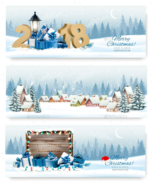GraphicRiver Three Holiday Christmas Banners 21155765