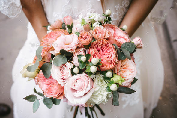 Bride with bouquet, closeup - Stock Photo - Images
