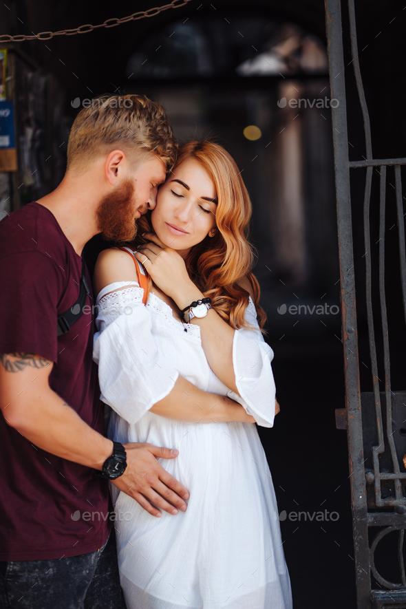 beautiful couple posing outdoors - Stock Photo - Images
