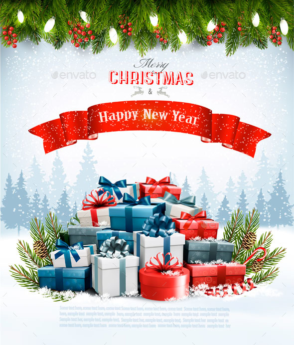 Christmas Background with Presents and Branches - Christmas Seasons/Holidays