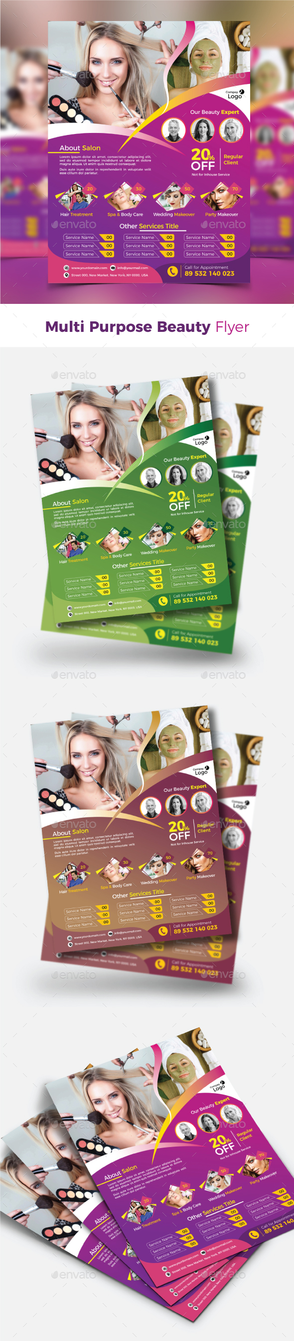 GraphicRiver Multi Purpose Beauty Flyer 21155997