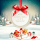 Christmas Holiday Background with Presents and Branches of Tree