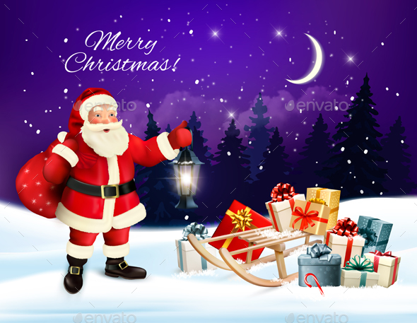 Christmas Holiday Background with Presents and Santa Claus - Christmas Seasons/Holidays