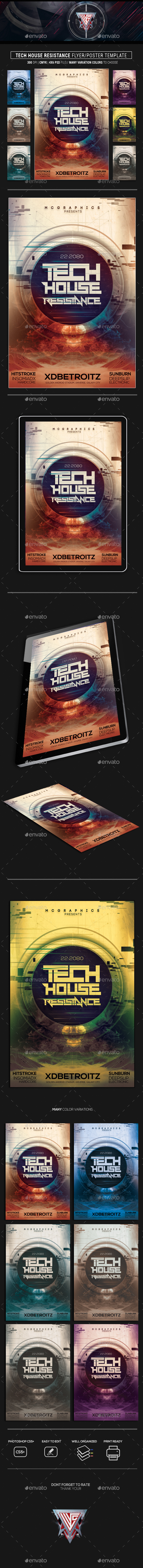 GraphicRiver Tech House Resistance Flyer Poster Template 21156356