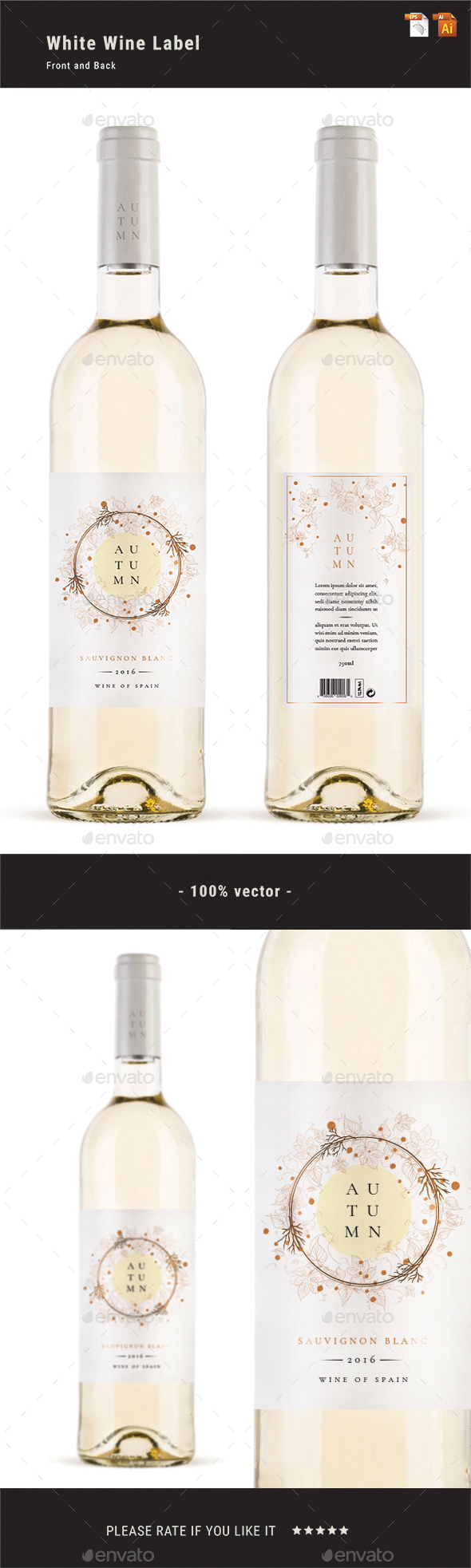White Wine Label - Packaging Print Templates