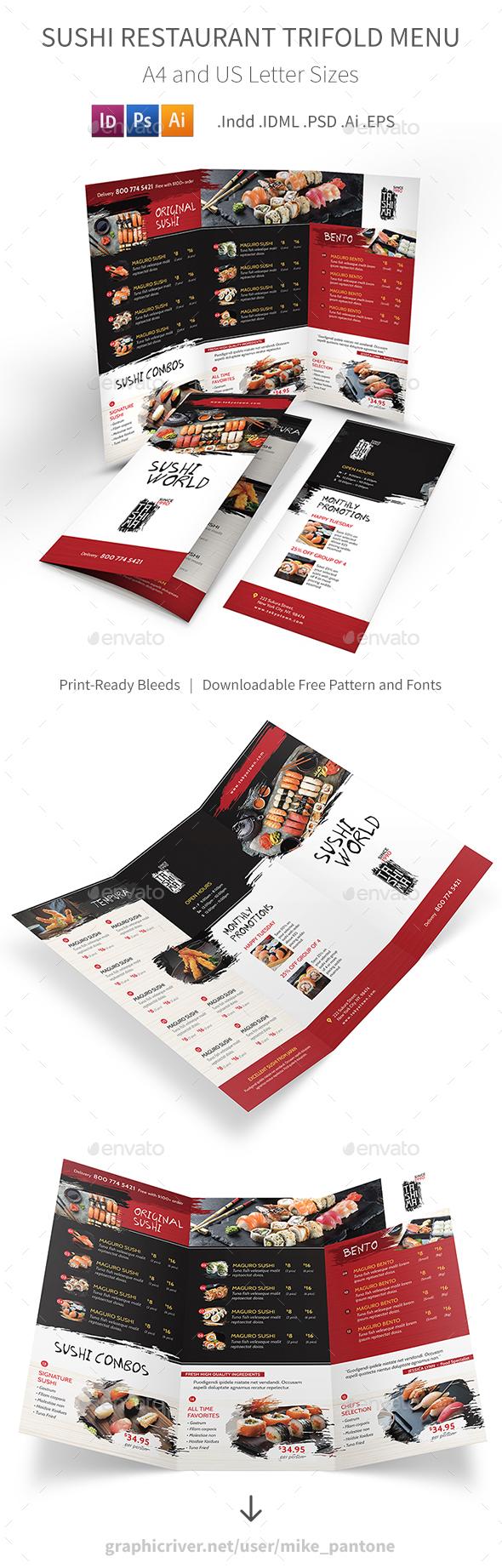 GraphicRiver Sushi Restaurant Trifold Menu 21156795