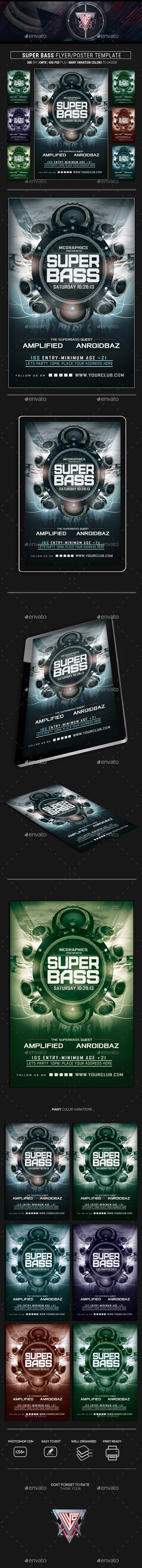 Super Bass Flyer Template - Clubs & Parties Events