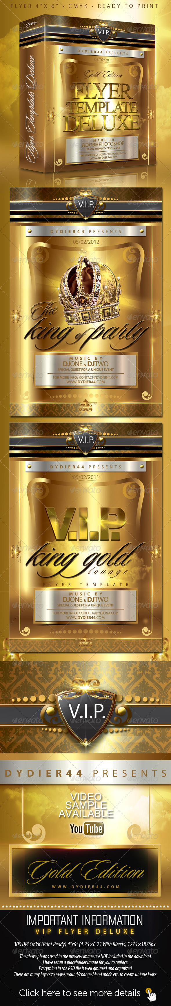 V.I.P Gold Deluxe (Flyer Template 4x6) - Clubs & Parties Events