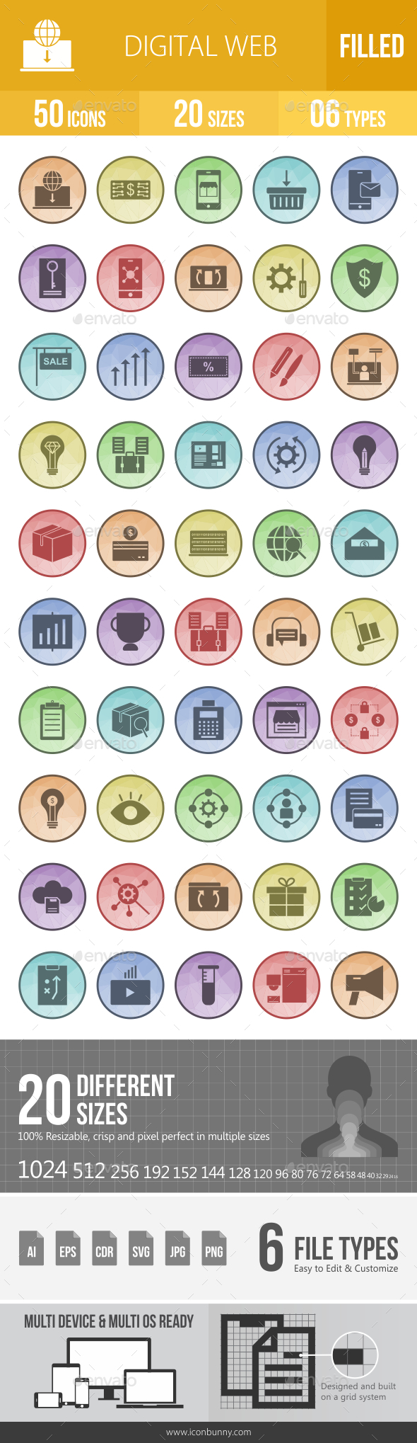 GraphicRiver 50 Digital Web Filled Low Poly Icons 21157252