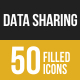 50 Data Sharing Filled Low Poly Icons
