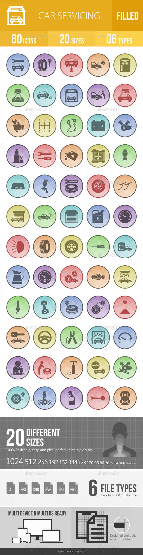 GraphicRiver 60 Car Servicing Filled Low Poly Icons 21157281