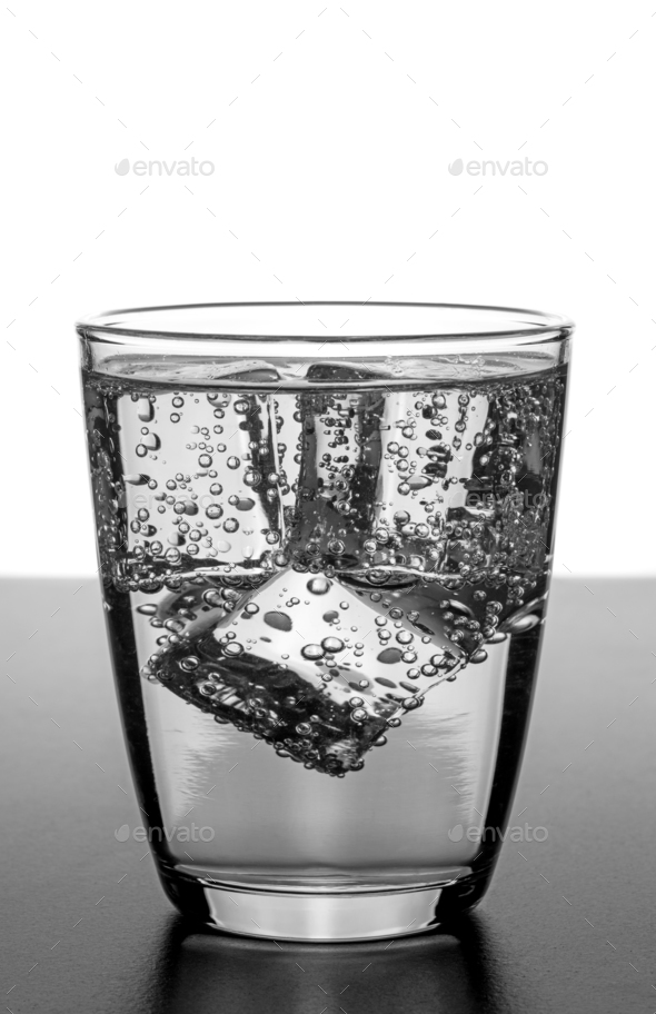 A Glass of Water with Ice Cubes - Stock Photo - Images
