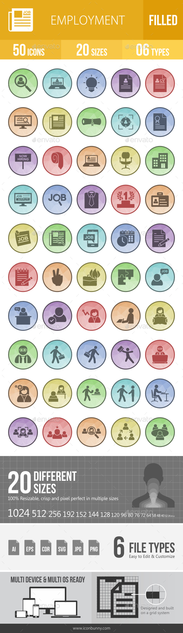 GraphicRiver 50 Employment Filled Low Poly Icons 21157304