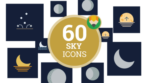 VideoHive Icons Pack Sun Sky Nature Climate Flat Animated Icons 21157392