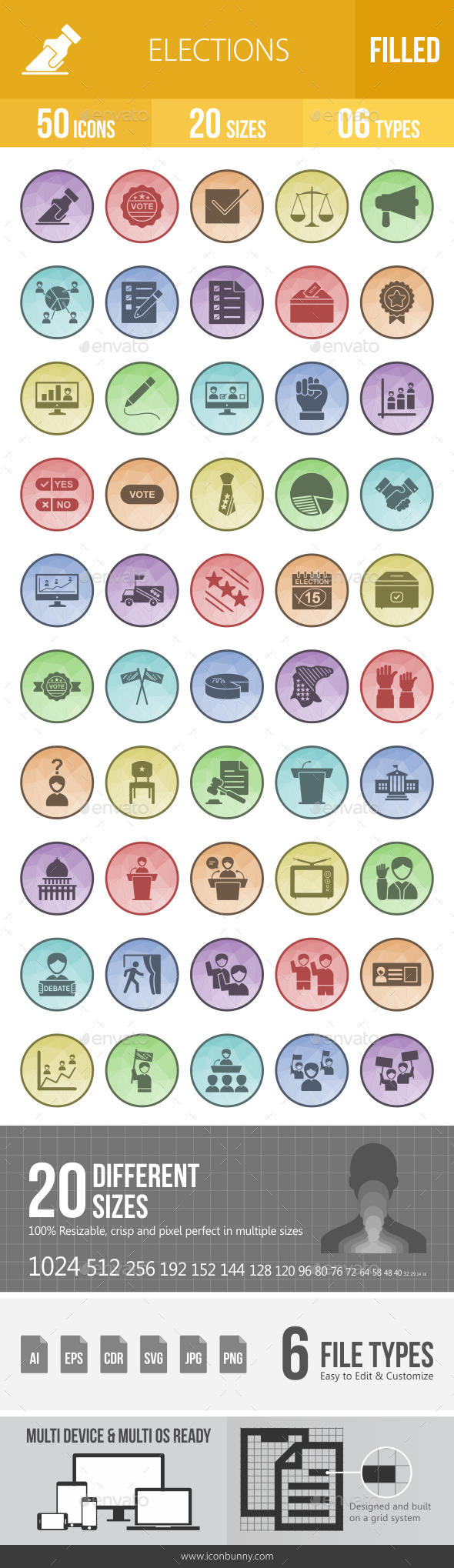 GraphicRiver 50 Elections Filled Low Poly Icons 21157407