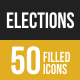 50 Elections Filled Low Poly Icons