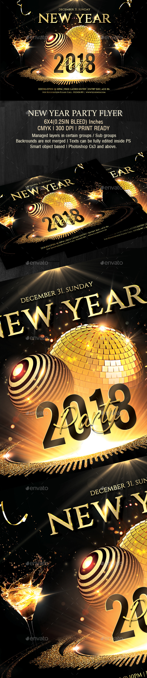 GraphicRiver New Year Party Flyer 21157415