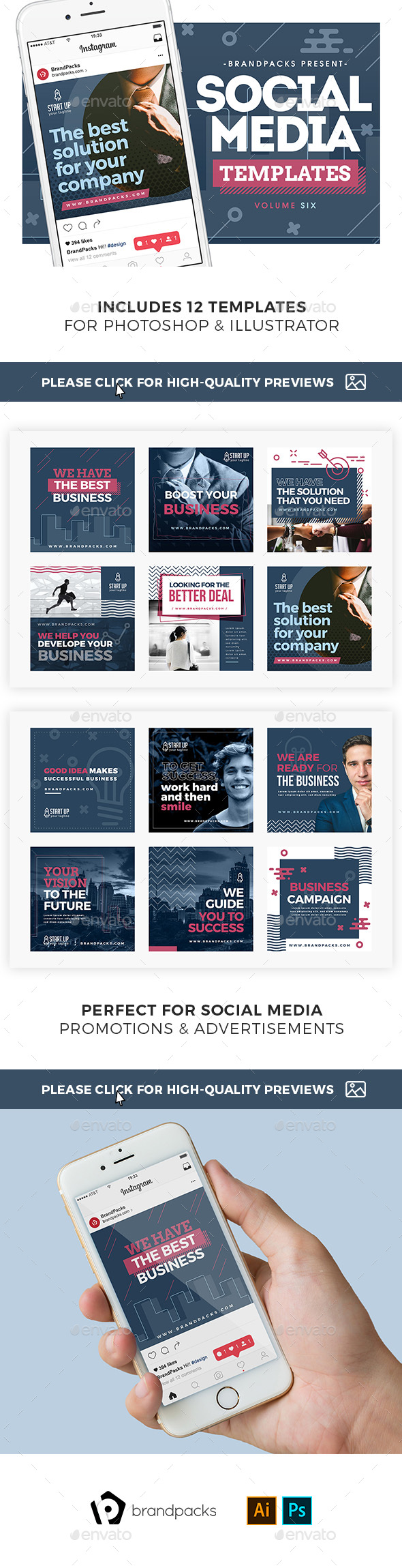 Business Social Media Templates Pack - Social Media Web Elements